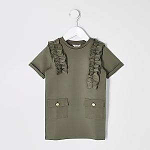 Robe fonctionnelle kaki pour mini fille