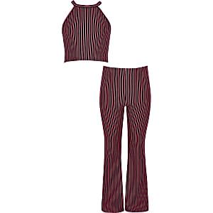 Outfit met roze gestreepte crop top voor meisjes