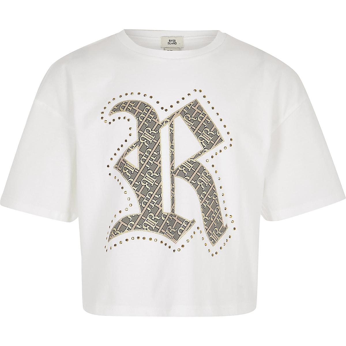 Girls white RI family twinning T-shirt