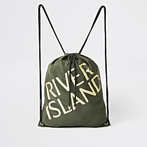 Girls khaki 'River Island' drawstring bag