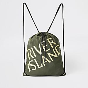 Kaki tas met trekkoord en 'River Island'-print voor meisjes