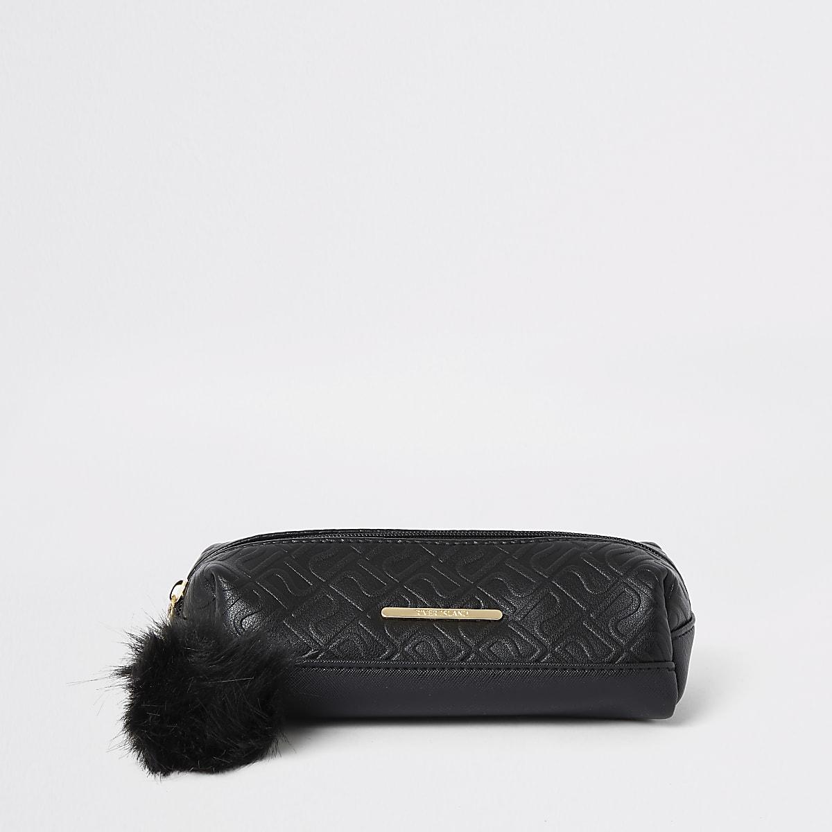 Girls black RI monogram pencil case