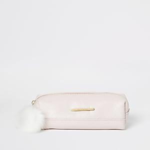 Girls pink RI monogram pencil case