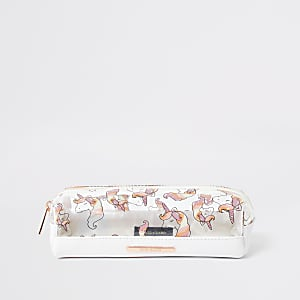 Girls white unicorn pencil case