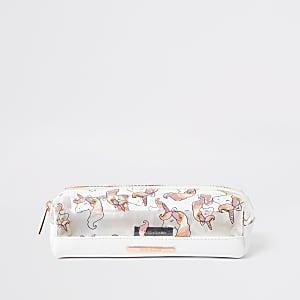 Trousse blanche motif licorne pour fille