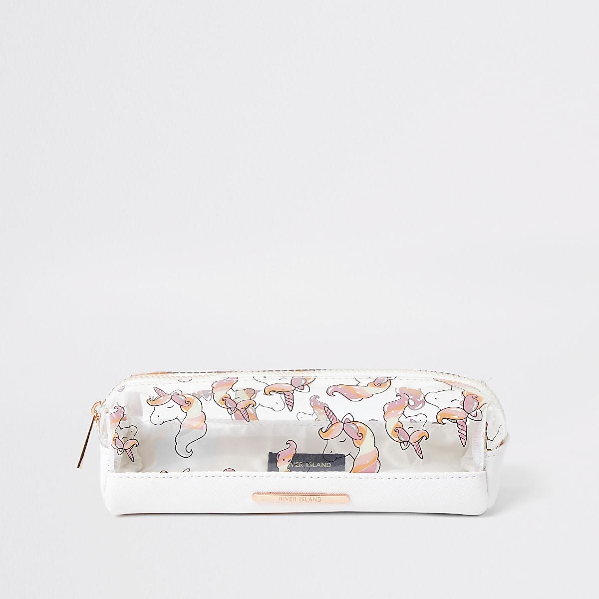 Girls white unicorn pencil case