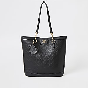 Girls black RI monogram shopper bag
