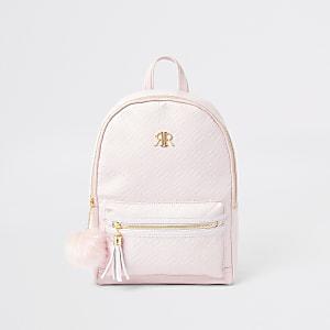 Sac à dos rose à monogramme RI pour fille