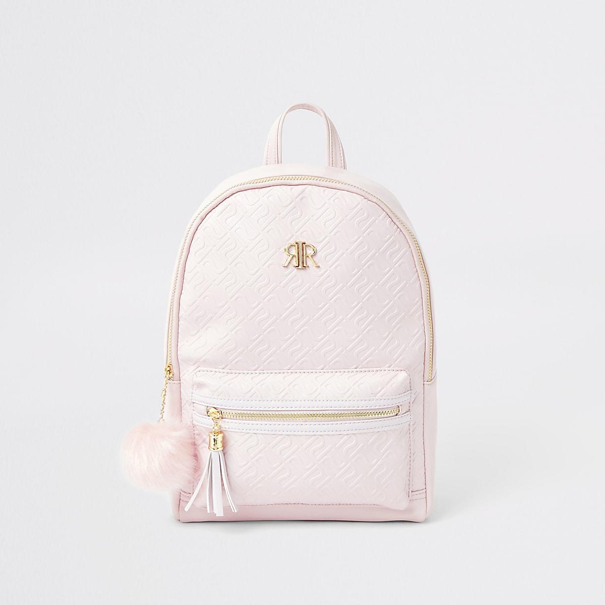 Girls pink RI monogram backpack