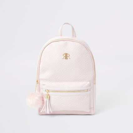 Girls pink RI monogram backpack