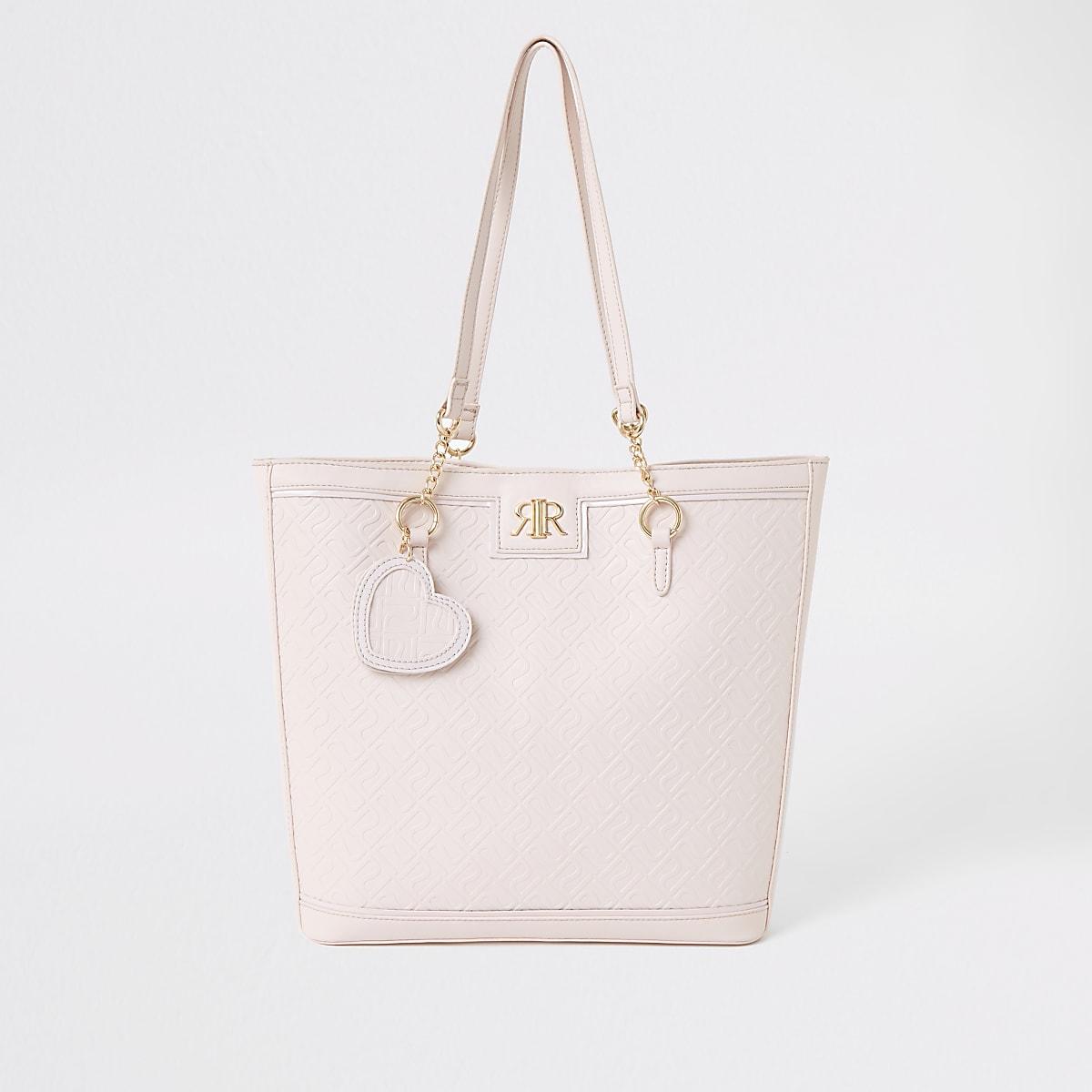 Girls pink RI monogram shopper bag