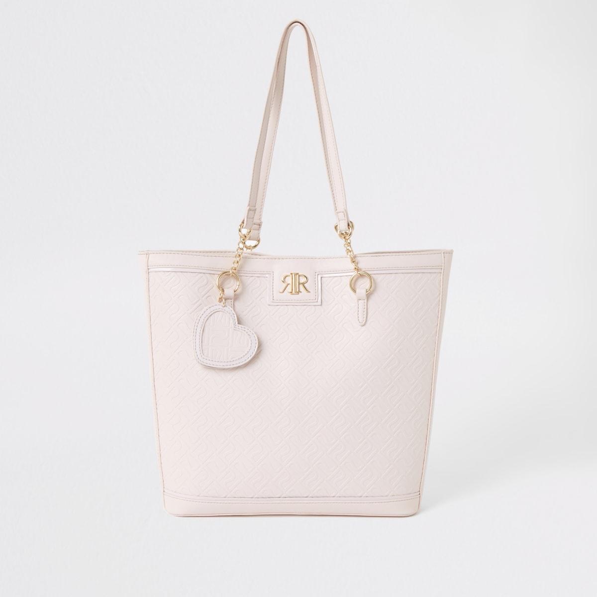 Roze shopper met RI-monogram voor meisjes