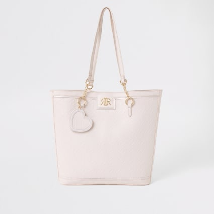 Girls pink RI monogram shopper bag
