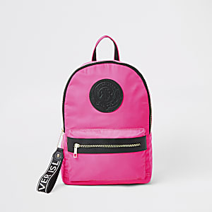 Girls neon pink RI backpack