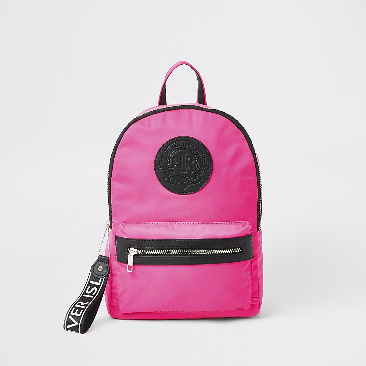 Girls neon pink RI backpack