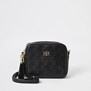 Zwarte crossbodytas met RI-monogram voor meisjes