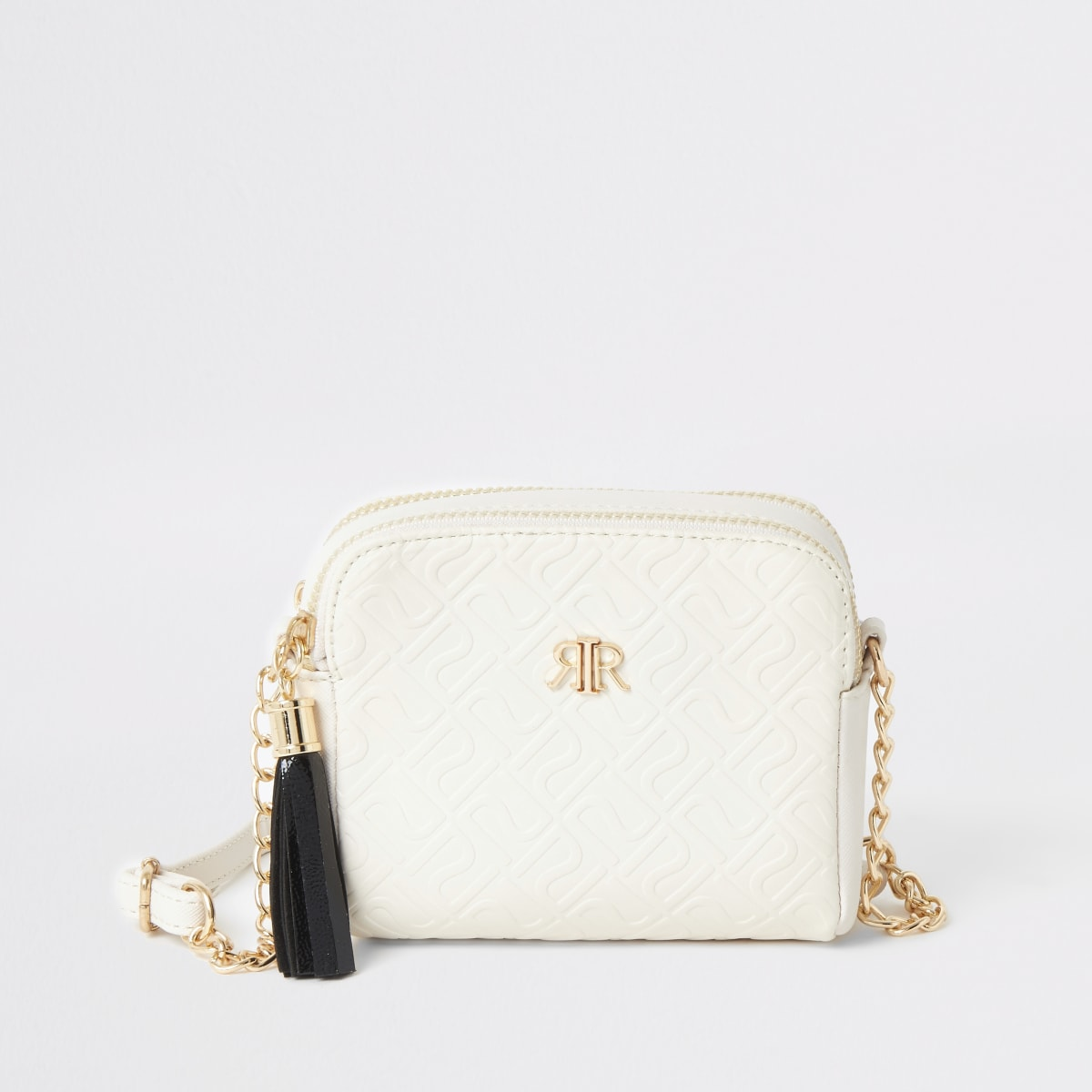 Girls cream RI monogram cross body bag