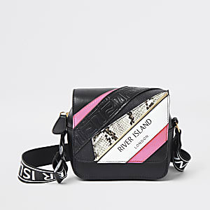 Girls black RI spliced print cross body bag