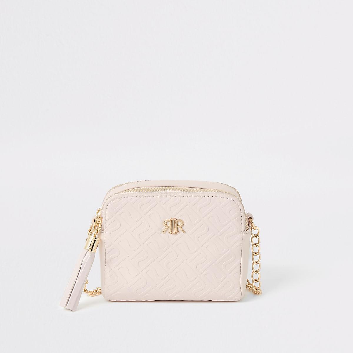 Girls pink RI monogram cross body bag