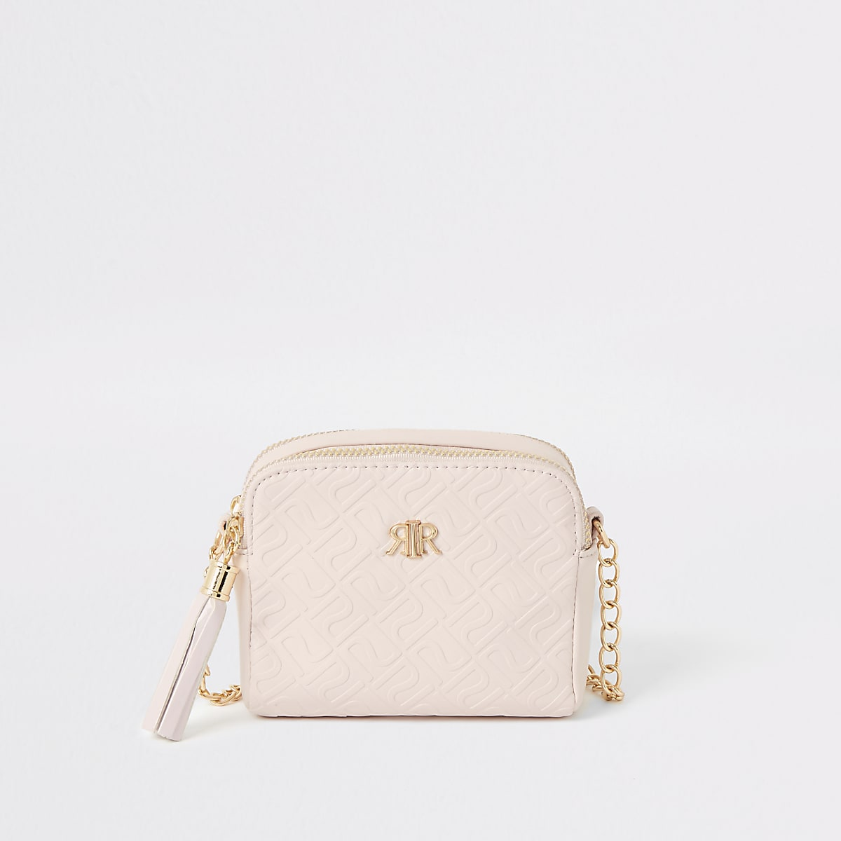 Girls pink RI monogram cross body bag