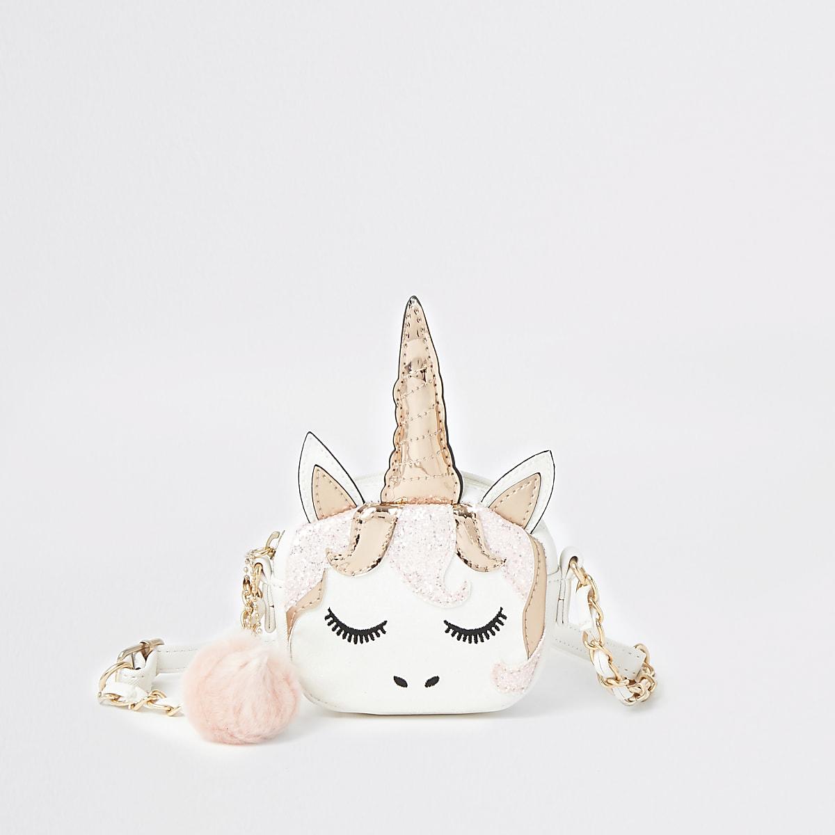 Girls white unicorn cross body bag