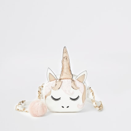 Girls white unicorn cross body bag