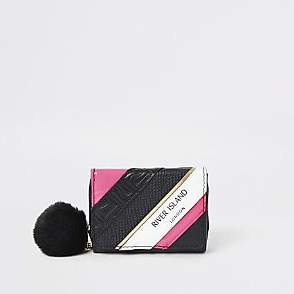 Girls black RI spliced trifold purse
