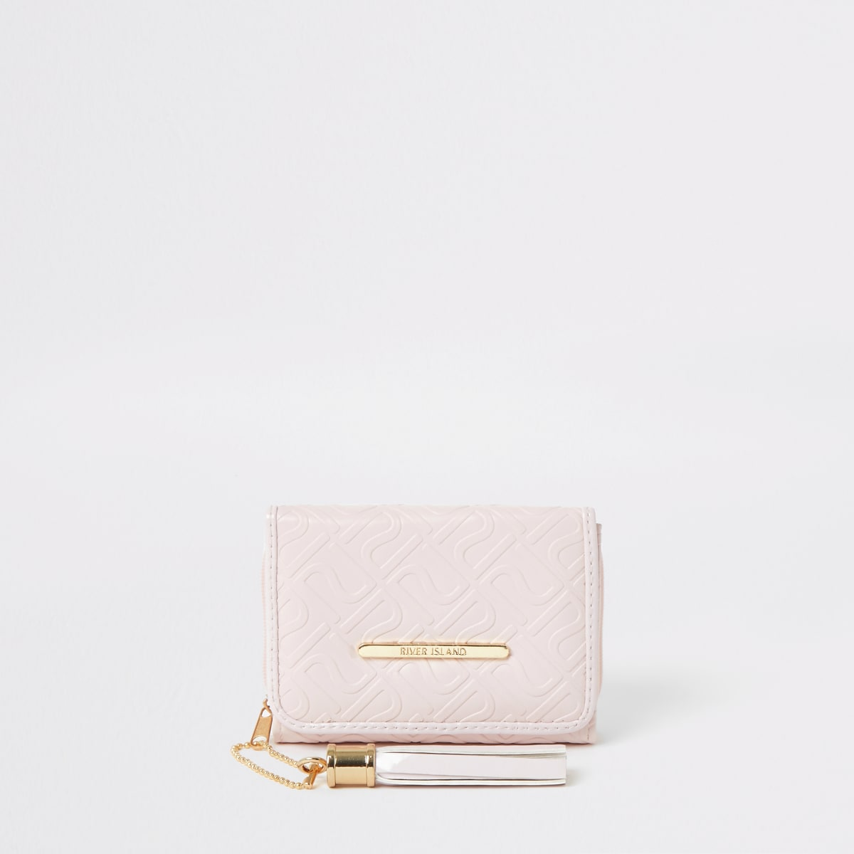 Girls pink RI monogram trifold purse