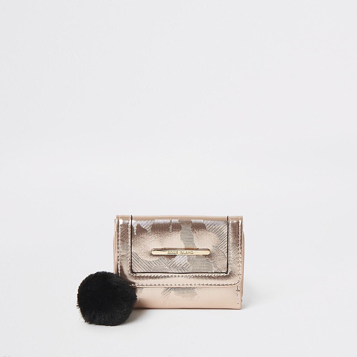 Girls pink rose gold camo trifold purse