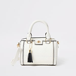 Girls cream RI cross body bowler bag