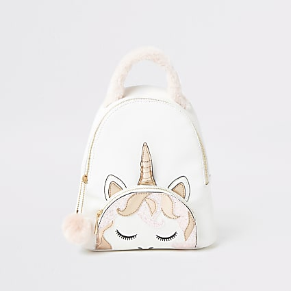 Girls white unicorn backpack