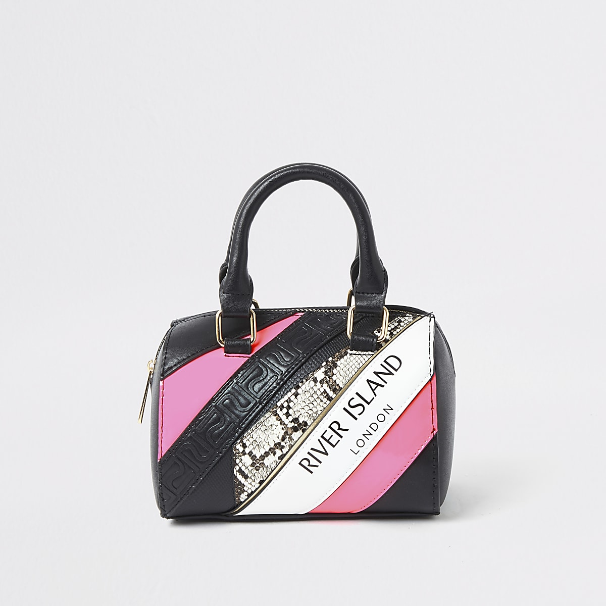 Girls black RI spliced print bowler bag