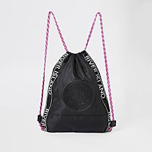 Zwarte tas met RI-logo en trekkoord voor meisjes