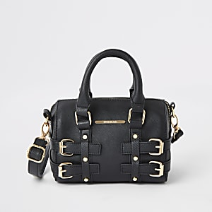 Girls black buckle bowler bag