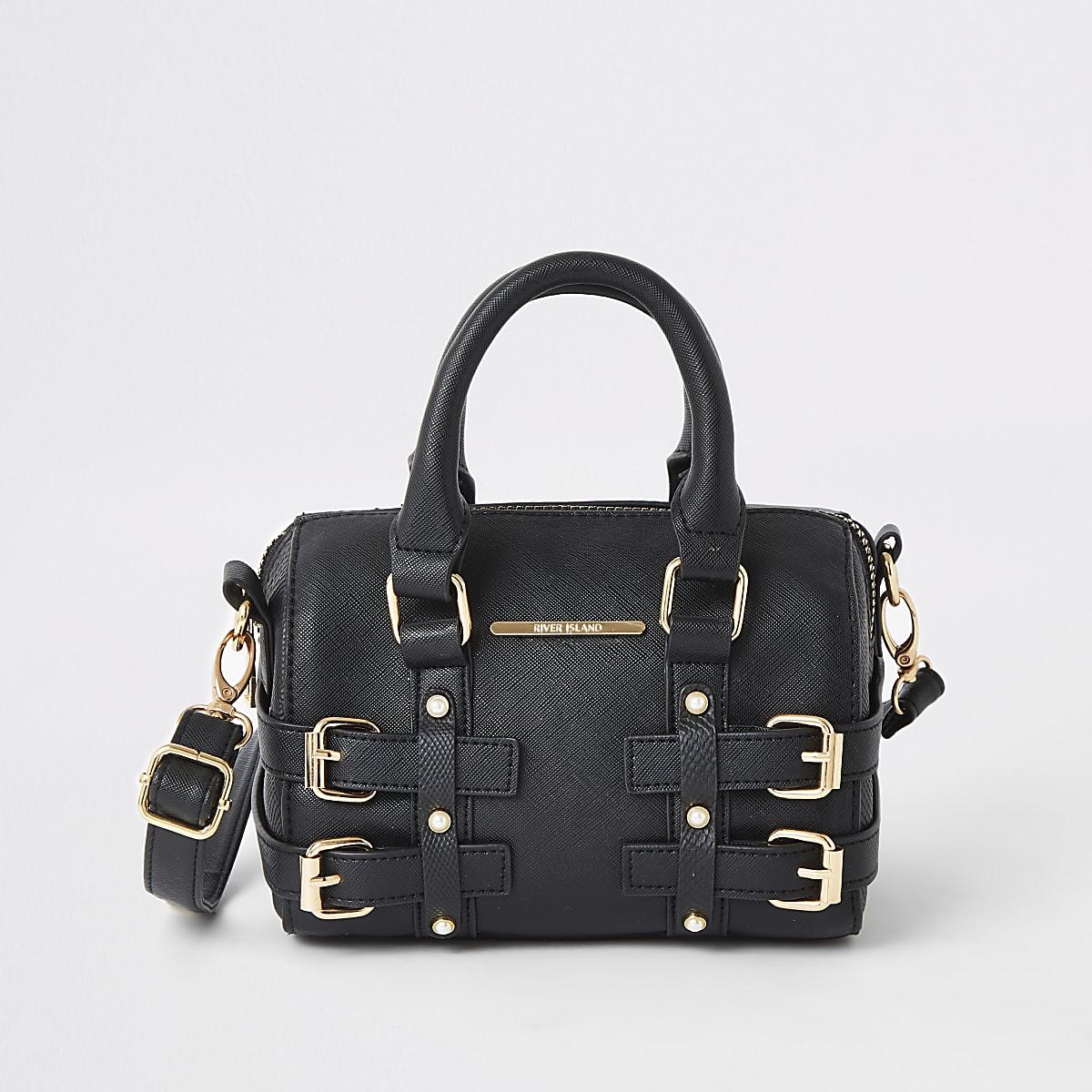 Girls black buckle bowler bag