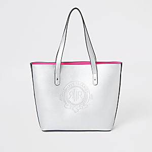 Girls silver RI logo shopper bag