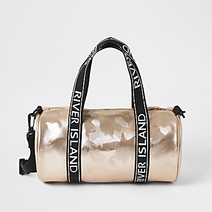 Girls rose gold camo holdall bag