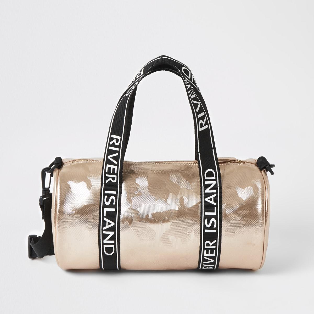 Girls rose gold camo holdall bag