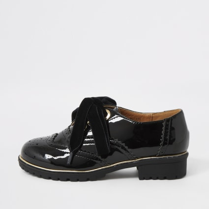 Girls black patent brogue shoes