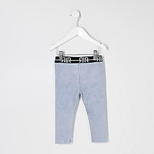 Mini - Blauwe denim legging met RI-logo op de tailleband voor meisjes