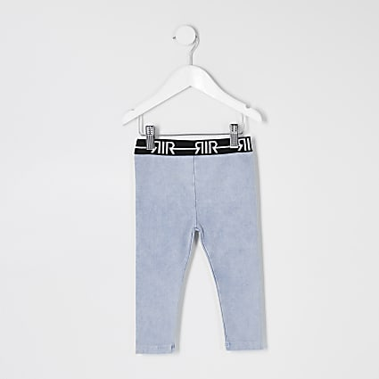 Mini girls blue RI waistband denim leggings