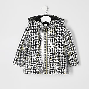 Mini girls dogtooth check print rain mac