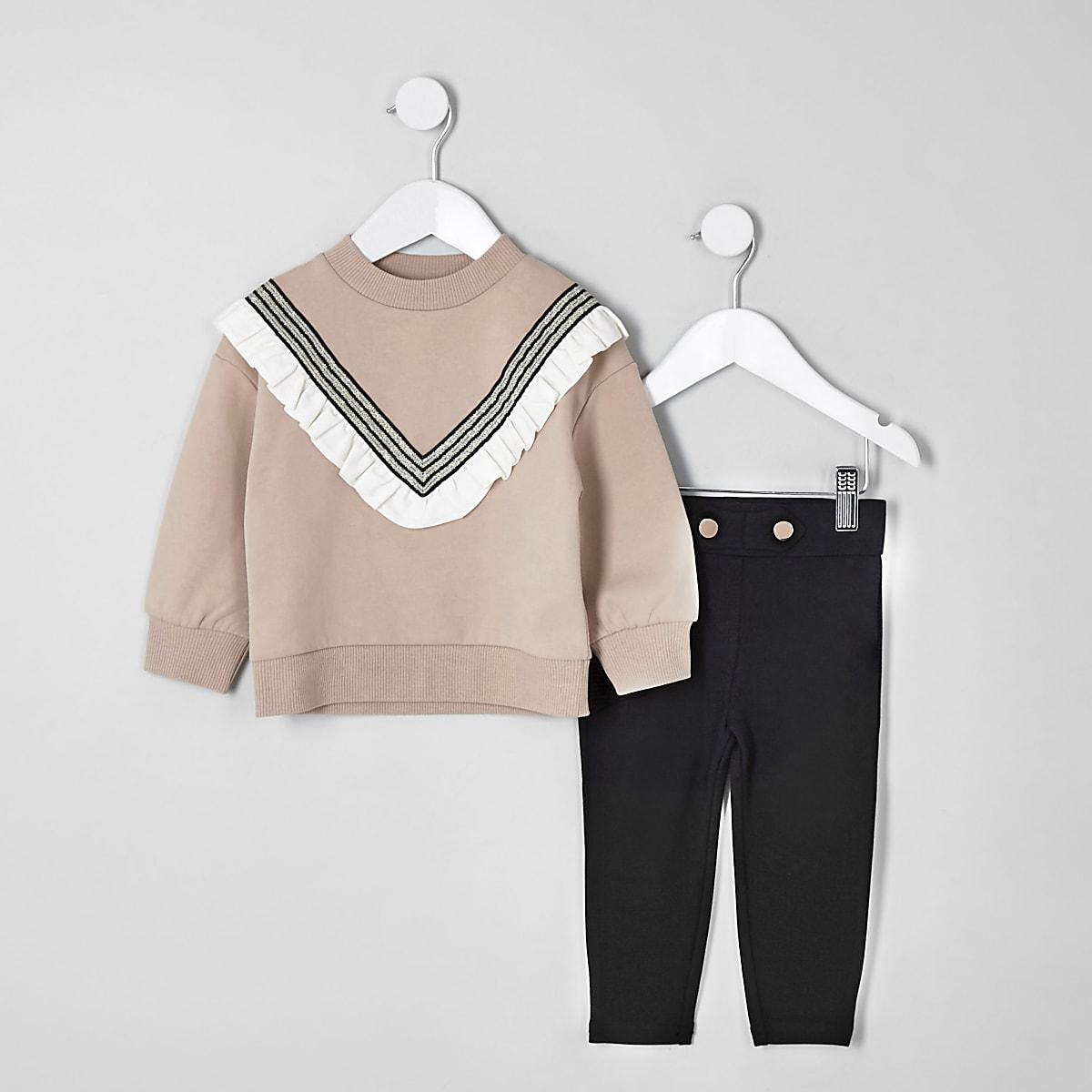 Mini - Outfit met beige chevron sweatshirt voor meisjes