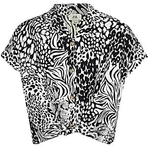 Chemise à imprimé animal noire et blanche pour fille