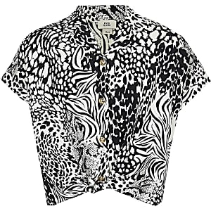 Zwart overhemd met zwart-witte dierenprint voor meisjes