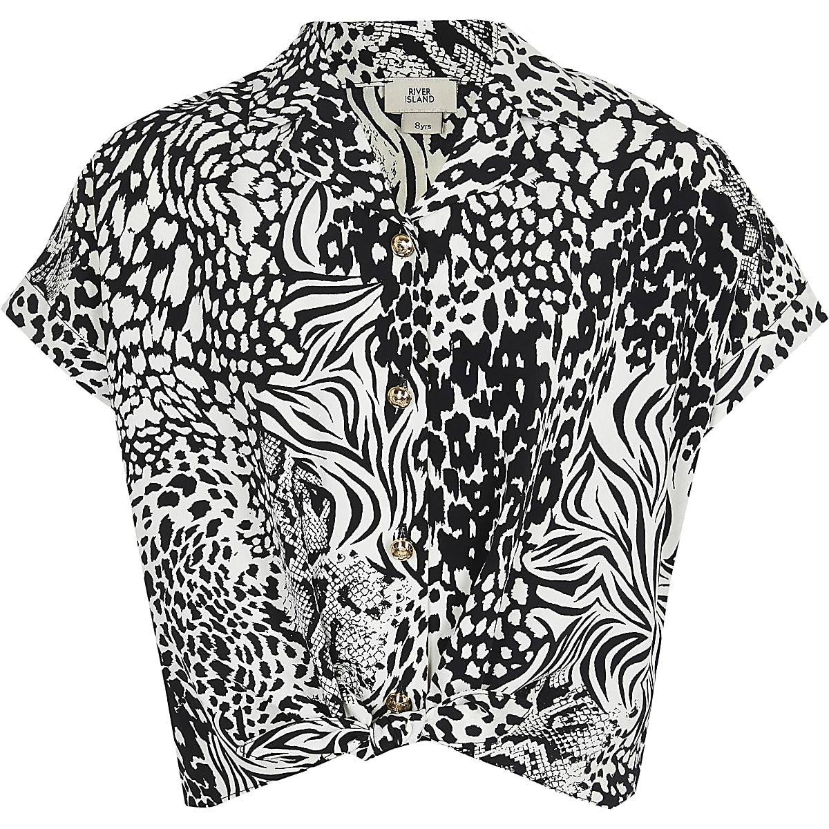 Girls black monochrome animal print shirt