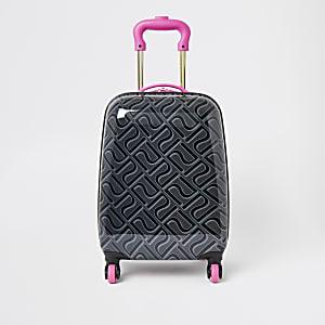 Valise noire à monogramme RI pour fille