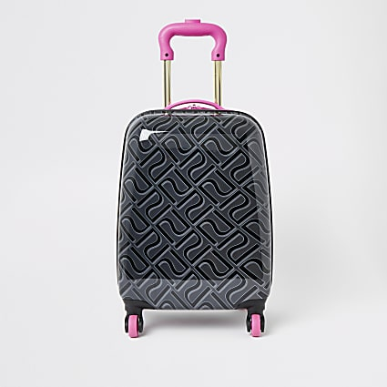 Girls black RI monogram suitcase