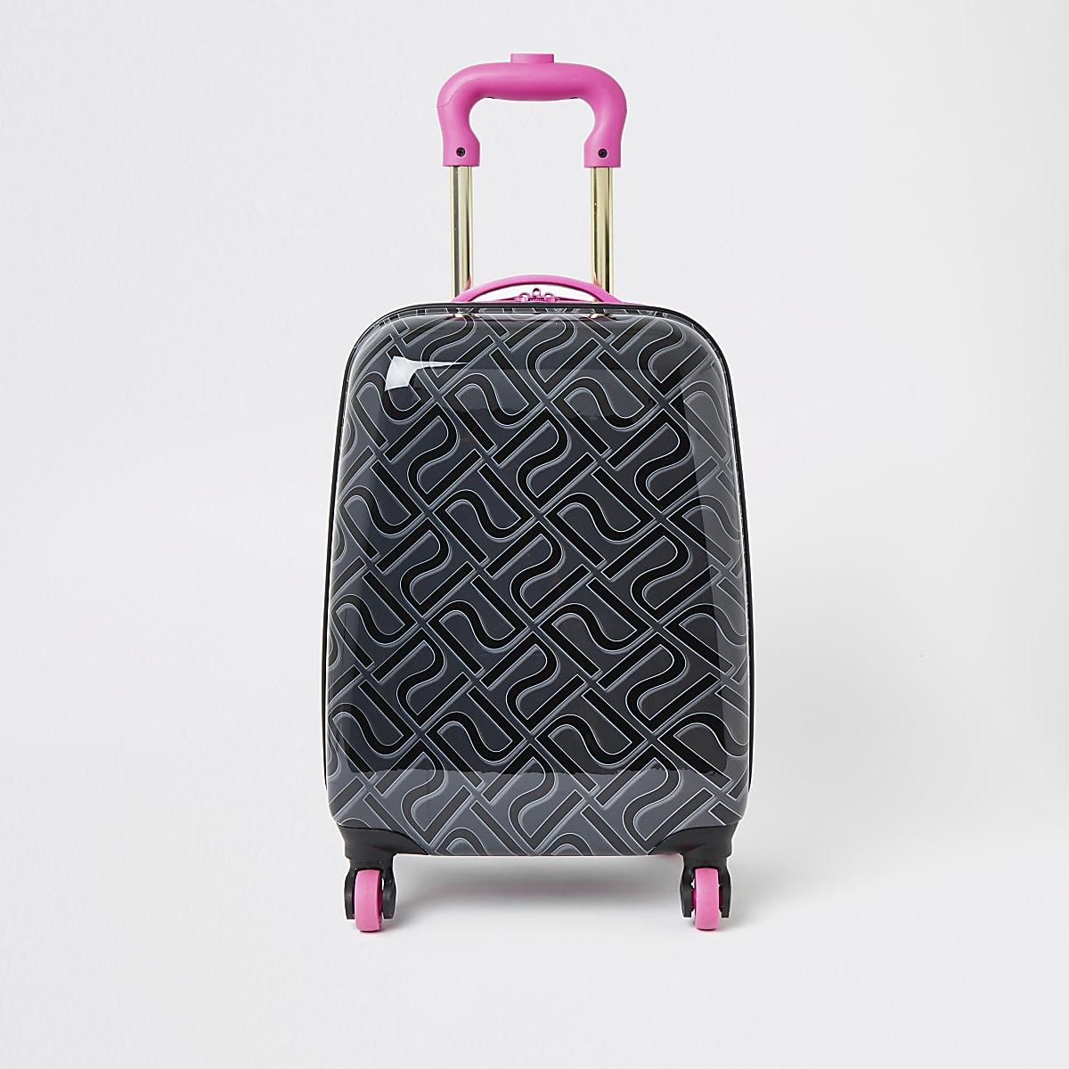 Girls black RI monogram suitcase