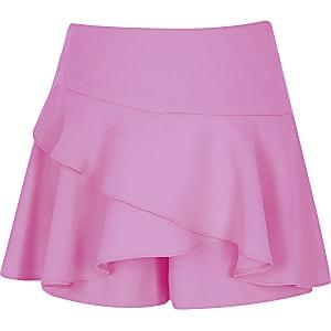 Jupe-short rose fluo à volant pour fille